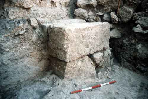 Phase 8 - the ashlar corner of the 'monumental structure' and one of the courtyard surfaces